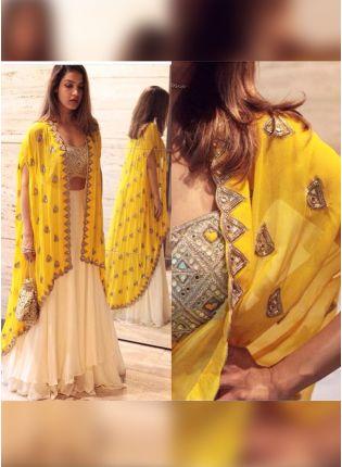 Best Lemon Yellow Color Party Wear Jacket Style Lehenga Choli