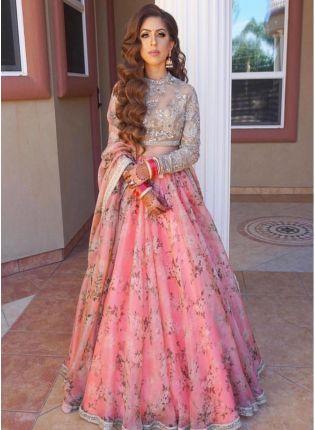 Trendy Party Wear Pink Color Designer Floral Printed Lehenga Choli
