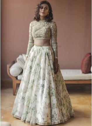 Affordable White Color Designer Party Wear Heavy Digital Printed Lehenga Choli