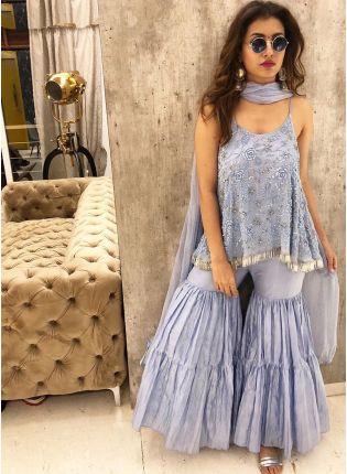 Iconic Party Wear Sky Blue Color Georgette Base Designer Sharara Suit