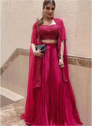 Stylish Look Maroon Color Georgette Base Party Wear Indo-Western Lehenga Choli