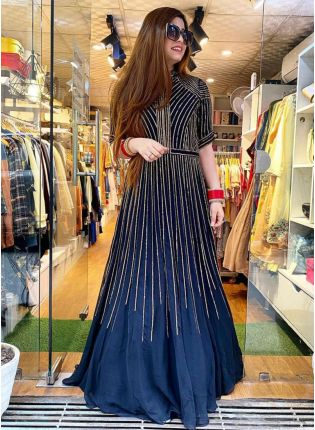 Navy Blue Color Sequins And Heavy Embroidery Work Bollywood Lehenga Choli