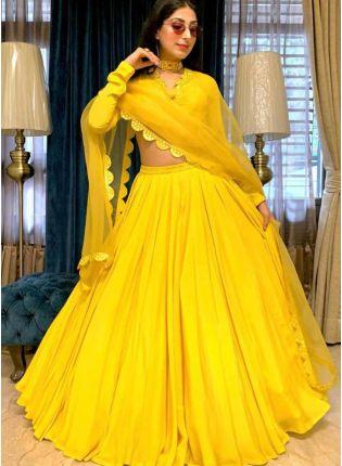Buy Sunshine Yellow Color Georgette Base Flared Lehenga Choli