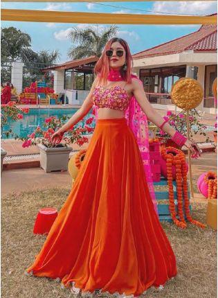Eye-Captivating Orange Color Georgette Base Flared Lehenga Choli