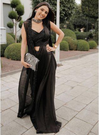 Trendy Black Color Satin Silk Base Stylish Saree With Same Color Blouse