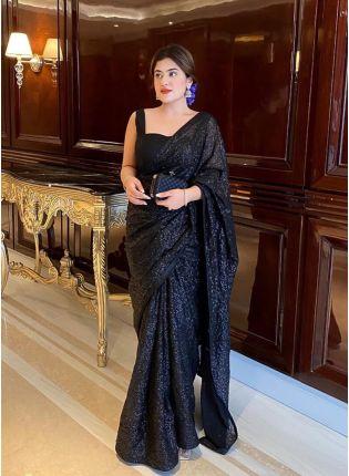 Magnificent Black Color Georgette Base Designer Saree