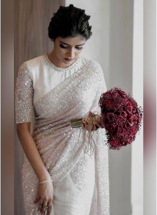 Magnificent White Color Crepe Silk Base Designer Saree