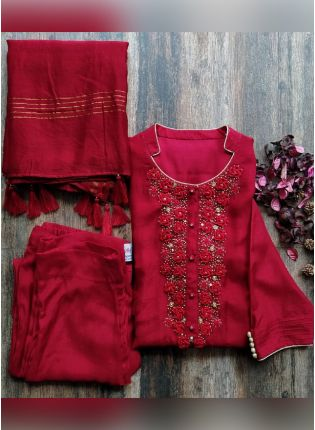 Magnificent Red Color Satin Base Casual Wear Pant Style Salwar Suit