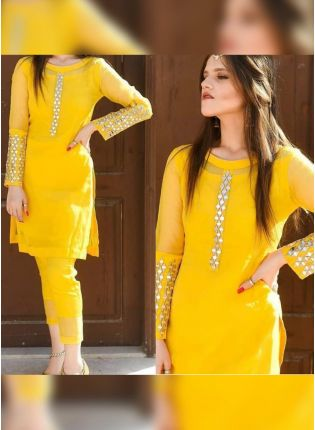 Trendy Splendid Bright Yellow Georgette Base Mirror Work Pant Style Suit