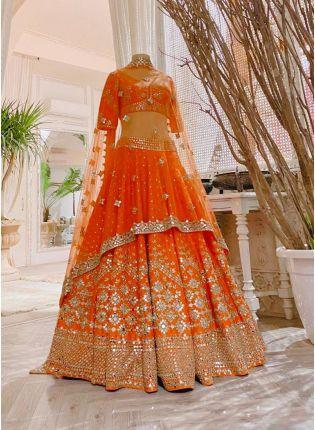 Classy Orange Color Flared Lehenga Choli