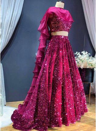 Glittery Wine Color Sequins Base Lehenga Choli