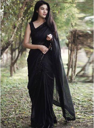 girl in Black Partywear Evening Saree
