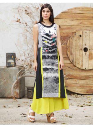 Buy Black Color Digital Printed Crepe Base Long kurta