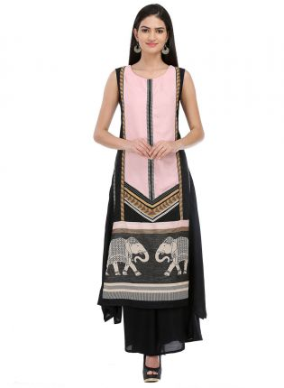Top Peach And Black Printed Long kurta