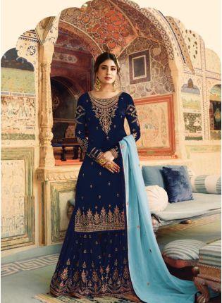 Top Navy Blue Color Wedding Wear Georgette Base Sharara Suit