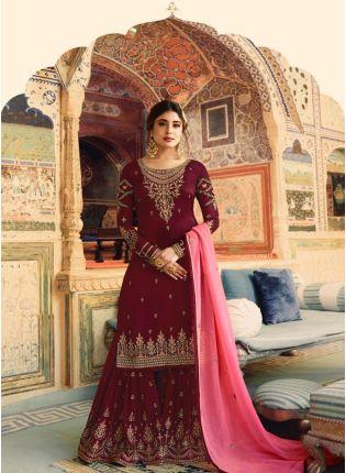 Best Maroon Color Wedding Wear Georgette Base Sharara Suit