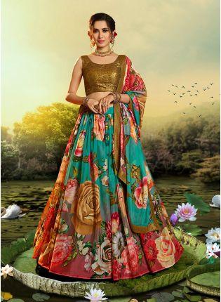"""Glittery Floral Green-Gold Lehenga Choli Set """