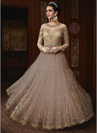 Best Light Grey Color Party Wear Designer Soft Net Base Anarkali Style Suit