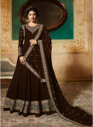 Top Georgette Base Party Wear Brown Color Heavy Embroidery Work Anarkali Suit