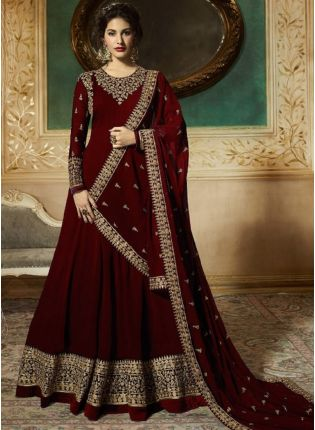 Stylish Georgette Base Party Wear Maroon Color Heavy Embroidery Work Anarkali Suit