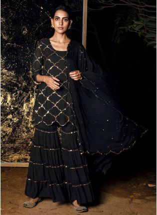 Decent Amazing And Adorable Black Georgette Base Embroidered Sharara Suit