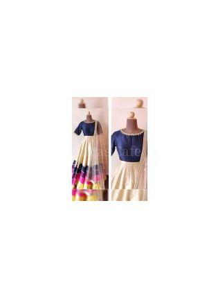 Stylish Classy navy Blue Color Party Wear Tafeeta Silk Base Designer Gown