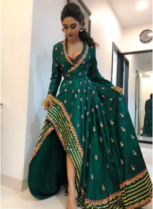Decent Stylish Wedding Special Embroidered Updown Style Green Gown
