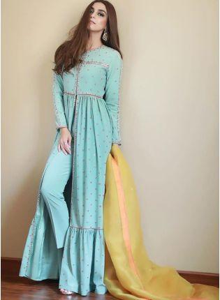 Stylish Sky Blue Zari And Silk Pant Style Salwar Suit