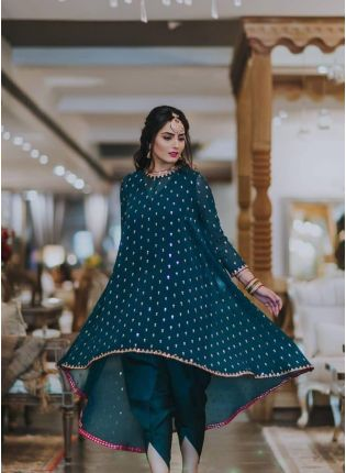Purchase Teal Green Color Party Wear Georgette Base Dhoti Dress