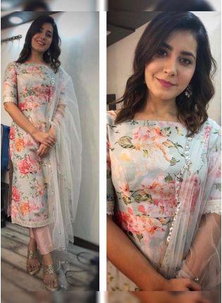 Buy Sky Blue Color Floral Printed Designer Salwar Kameez Suit