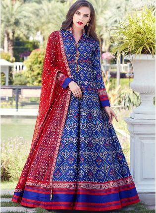 Best Royal Blue Color Heavy Printed Silk Base Party Wear Gown
