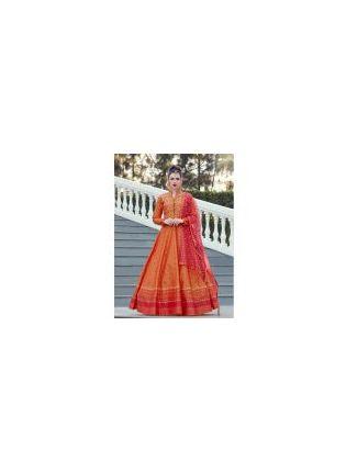 Splendid Designer Orange Color Heavy Printed Silk Base Party Wear Gown