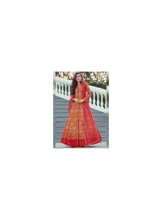 Stylish Dark Orange Color Heavy Printed Silk Base Party Wear Gown