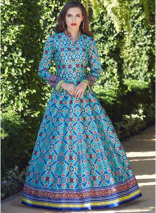 Decent Sky Blue Color Heavy Printed Silk Base Party Wear Gown