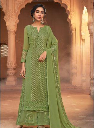 Trendy Look Green Color Georgette Base Wedding Wear Palazzo Suit