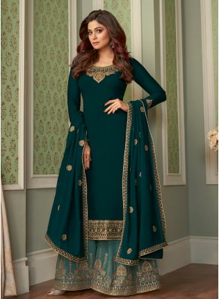 Eye-Captivating Bottle Green Color Georgette Base Wedding Wear Sharara Suit