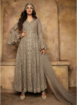 Decent Grey Color With Soft Net Base Gown