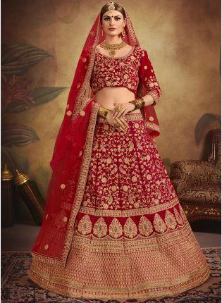 Iconic Red Color Designer Embroidered Bridal Wear Lehenga Choli