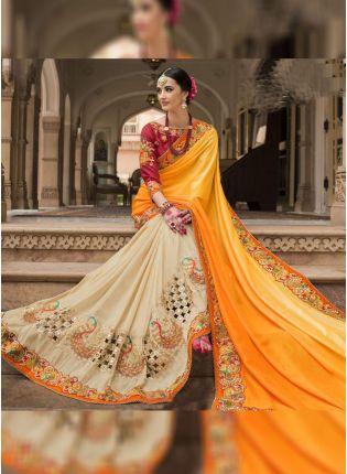 Shop Yellow And Cream Color Designer Wedding Wear Saree