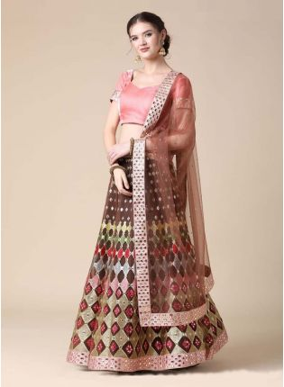Soft Net Base Brown Color Zari And Mirror Work Lehenga Choli With Dupatta
