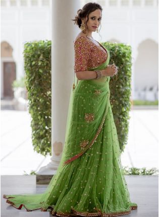 Buy Pistachio Color Party Wear Soft Net Heavy Worked Base Saree