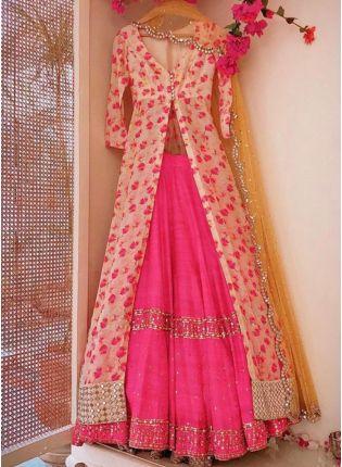 Decent Pink Color Party Wear Designer Banglori Silk Base Crop Top