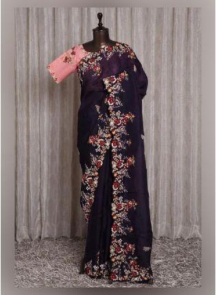 Impressive Wine Color Silk Base Saree With Blouse Piece