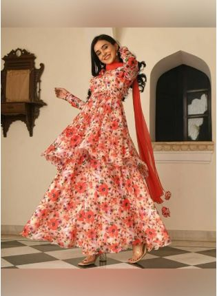 Incredible Peach Color Silk Base Printed Palazzo Suit