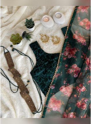 Admirable Teal Green Color Organza Base Printed Saree