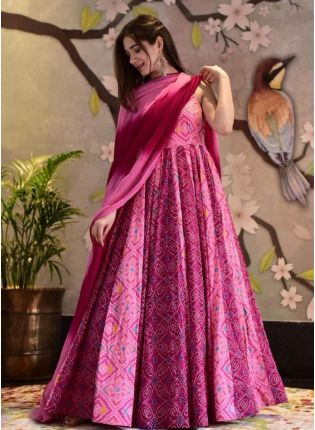 Exquisite Pink Color Gown With Silk Base