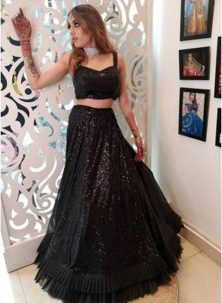 girl in Black Sequined Velvet Flared Lehenga Choli Set