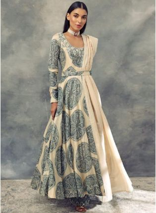 Sophisticated Cream Color Silk Base Palazzo Salwar Suit