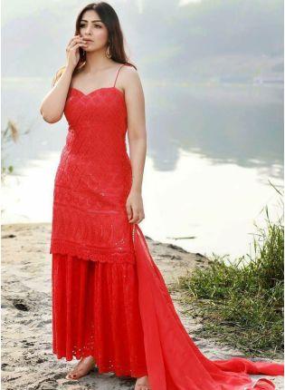 Ravishing  Red Color Sequins Base Long Choli Lehenga With Matching Dupatta