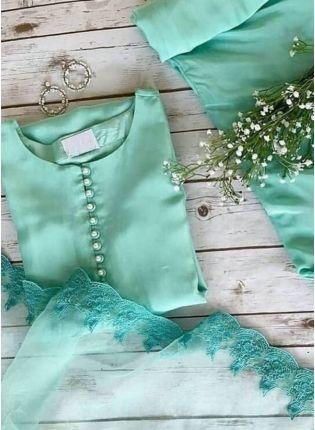 Exquisite Sea Green Color Heavy Cotton Base Pant Style Suit With Dupatta